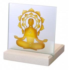 """Teelicht """"Chakra Buddha"""" Glas Stein graviert 10x13cm"""