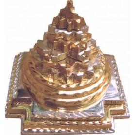 Meru Chakra aus Kupfer versilbert und vergoldet 5cm