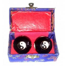 Qi Gong Kugel Yin Yang schwarz 35mm