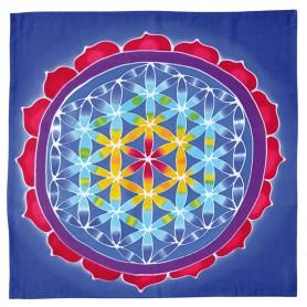 """Wandbehang """"Blume des Lebens"""" Rayon blau 80x80cm"""