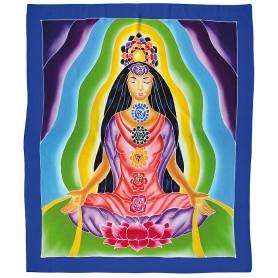 "Wandbehang ""Chakra-Yogini"" Rayon blau 90x110cm"