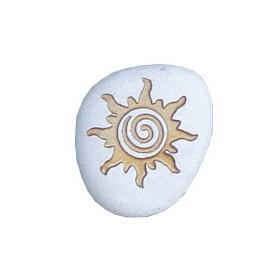 """Flußstein """"SonnenSpirale"""" weiß/gold 7cm"""