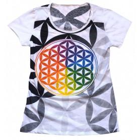 """Damen T-Shirt """"Blume des Lebens"""" 100% Baumwolle Größe M"""