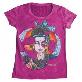 "Damen T-Shirt ""Om Buddha"" 100% Baumwolle lila Größe M"