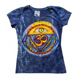 """Damen T-Shirt """"Om-Auge"""" 100% Baumwolle blau Größe M"""