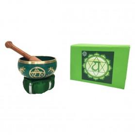 """Klangschalen Set """"Anahatam Chakra"""" grün mit Klöppel & Kissen 12cm ca. 500g"""