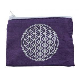 "Portemonnaie ""Blume des Lebens"" Baumwolle purple 12x10cm"