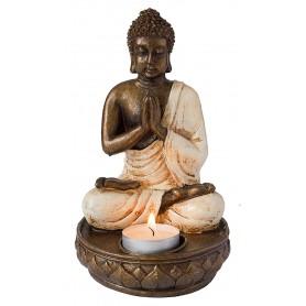 """""""Buddha mit Teelicht"""" Resin 18cm"""