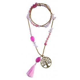 """Halskette """"Baum des Lebens"""" Rosenquarz-"""