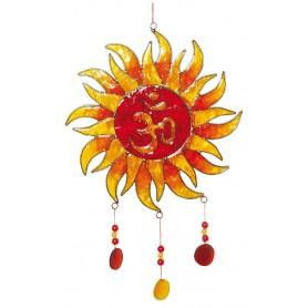 """Suncatcher """"Sonnen-Om"""" Fiberglas rot-orange 18x30cm"""