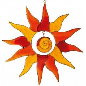 Suncatcher Sonne mit Spirale rot/orange 25cm
