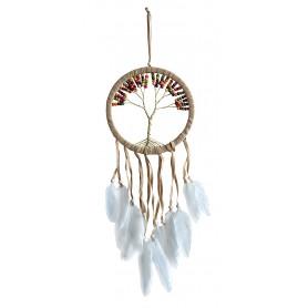 "Traumfänger ""Tree of Life"" Leder 16cm mit farbigen Holzperlen"
