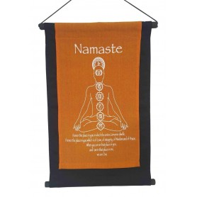 "Wandbehang ""Namaste/ Chakra Buddha"" Baumwolle saffran 27x40cm"