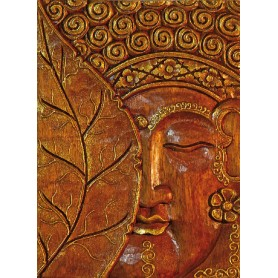 "Wandrelief ""Buddha mit Bodhiblatt"" Holz braun/gold 30cm"