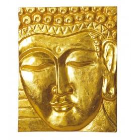 "Wandrelief ""Buddha"" Holz vergoldet 20x25cm"