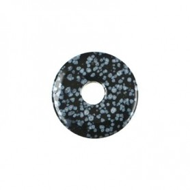 Donut rund - Schneeflocken Obsidian ( 30 oder 40 mm)