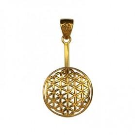 Donuthalter -Blume des Lebens- in Silber vergoldet für 30 mm Donut