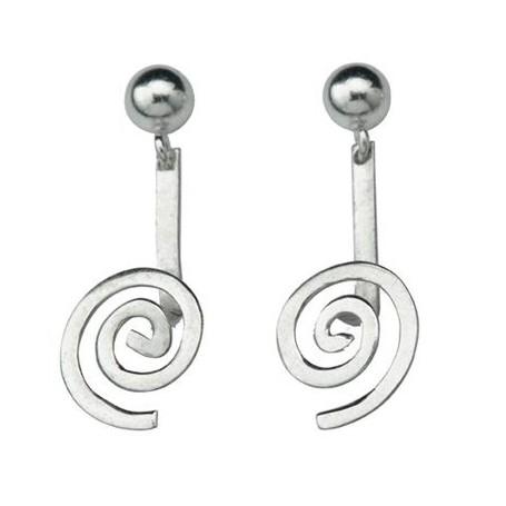 Ohrhänger Spirale Silber glanz für 15 mm MiniDonut