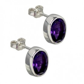 Ohrstecker Amethyst oval, facettiert