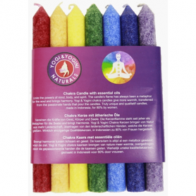 7er Set Chakra Stab Kerzen dünn - mit Duft