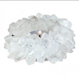 Edelstein Teelichthalter -Sonne- Bergkristall