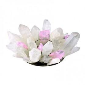Edelstein Teelichthalter -Design- Bergkristall und Rosenquarz