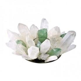 Edelstein Teelichthalter -Design- Bergkristall und Fluorit grün