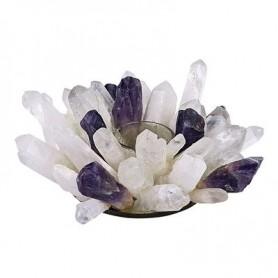 Edelstein Teelichthalter -Design- Bergkristall und Amethyst