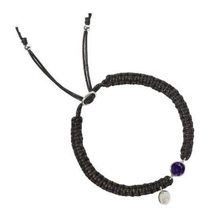 Armband -Makramee- Amethyst rund, facettiert