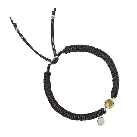 Armband -Makramee- Citrin (gebr.) rund facettiert
