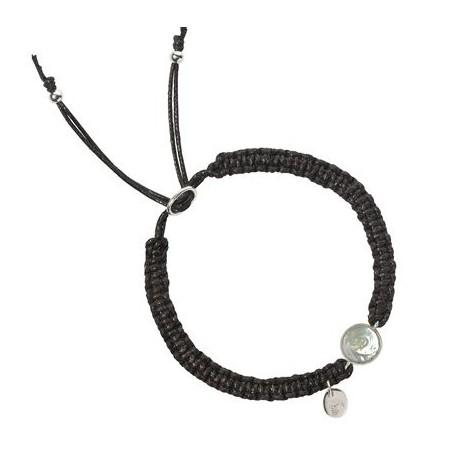 Armband -Makramee- Perle weiß (gebl.) rund flach