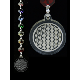 Kristall Feng Shui-Chakra Kette Blume des Lebens -Silber