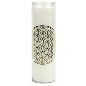 Duftkerze im Glas - Blume des Lebens -weiß