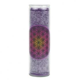 Duftkerze im Glas - Blume des Lebens -lila